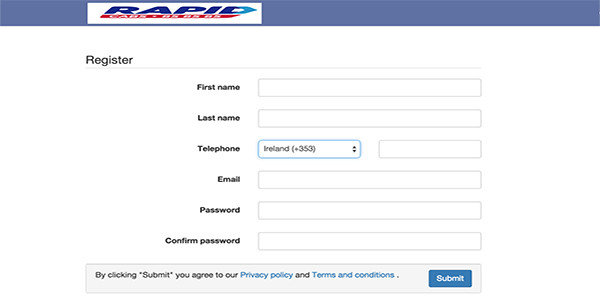 Rapid Cabs Ebooking Registration Page